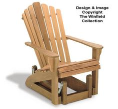 The Winfield Collection - Adirondack Glider Chair Plan Adirondack Chair Plans, Adirondack Furniture, Outdoor Furniture, Diy Wood Projects, Furniture Projects, Wood Furniture, Garden Projects, Recycled Furniture, Outdoor Projects