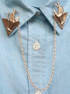 Punk Hand Collar Pins,Collar Clips,Collar Tips,Collar Brooch,Double Pin,Collar Jewelry,Collar Chains,Collar Studs,Collar Chain Clips.S888264...