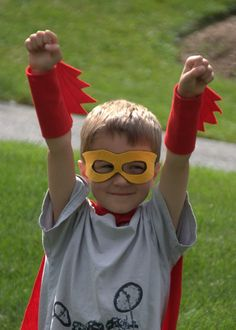 Birthday Party Pack of 8 handmade superhero costumes including capes, blaster cuffs and mask. $160.00, via Etsy.