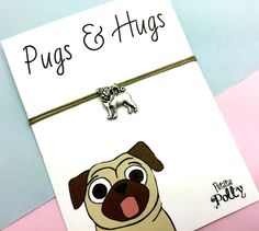 PUG Friendship Bracelet: Best Friend Bracelet, BFF Bracelet Gift, Pug Charm, Bracelet For Him / Her, Adjustable Bracelet, Stocking Filler! by PetitePolly on Etsy