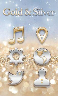 Gold & Silver GOLauncher Theme – Screenshot