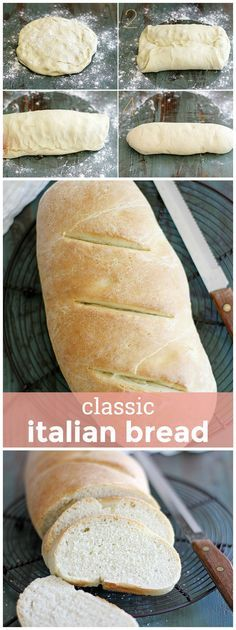 Classic Italian Bread -- a soft, tender loaf with a chewy crust. You'll love baking it homemade. Italian Bread -- a soft, tender loaf with a chewy crust. You'll love baking it homemade. Italian Bread Recipes, Easy Bread Recipes, Baking Recipes, Dessert Recipes, Desserts, Dessert Bread, Italian Cooking, Simple Recipes, Kitchens