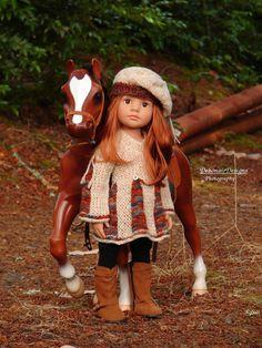 OOAK HandKnit Dress + Beret fits Gotz HappyKidz/Hannah dolls by Debonair Designs…