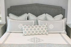 Bedroom with monogrammed Leontine Linens by Margaret Ash Design