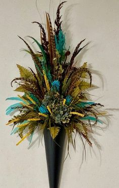 Your place to buy and sell all things handmade Faux Flowers, Silk Flowers, Wall Garden Indoor, Indoor Gardening, Balcony Garden, Rooster Feathers, Pheasant Feathers, Wrought Iron Wall Decor, Iron Decor