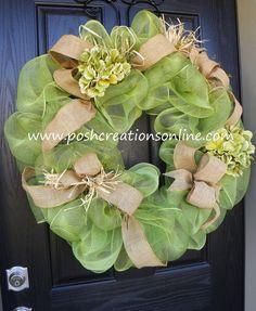green burlap wreaths for sale   Green Spring Summer Mesh Burlap Wreath   wreaths