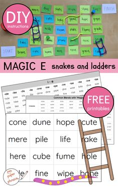 Magic E Snakes and Ladders - Pen and Paper Phonics Phonics Activities, Learning Activities, Magic E Words, Word Ladders, Vowel Digraphs, Cvce Words, First Grade Phonics, Words To Use, Reading Intervention