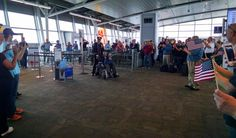 USS Indianapolis survivor John Woolston arriving at the Indianapolis Airport.  #Navy #usomoments
