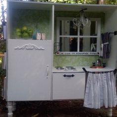 Entertainment Center Turned Play Kitchen | Entertainment center turned play kitchen...