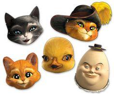 """les masques des personnages de """"Puss in Boots""""..."""
