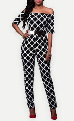 $36.99 Monochrome Print Belted Off Shoulder Jumpsuit