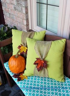 Fall pillow but I would like to do one in Christmas colors- red pillow and white ribbon.