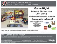 Game Night 2/21/16 6-9 pm at Criss Library