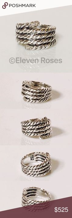 David Yurman Willow Serpentine Ring W/ Diamonds David Yurman Willow Serpentine Ring With Diamonds - 925 Sterling Silver - Pave Diamonds Approx .07 CTW - Measures Approx 16mm Wide At Front - US Size 6 - Excellent Condition -    Listing Images Are Of Actual Item Being Offered David Yurman Jewelry Rings