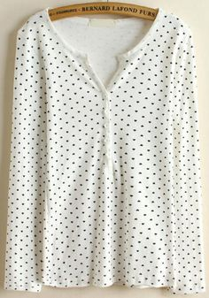 Shop White V Neck Long Sleeve Polka Dot Blouse online. Sheinside offers White V Neck Long Sleeve Polka Dot Blouse & more to fit your fashionable needs. Free Shipping Worldwide!