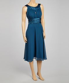 Another great find on #zulily! Teal Ruched Sleeveless Dress by Connected Apparel #zulilyfinds