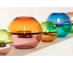 gorgeous tealight holders! nice way to bring in color!
