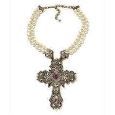 "Heidi Daus ""Magnificent Glory"" Cross Drop Necklace"