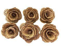 David Tutera Burlap Flowers - Brown - 2.5 x 1 inches - 6 pieces