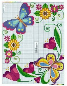 No automatic alt text available. Butterfly Cross Stitch, Cross Stitch Borders, Cross Stitch Rose, Cross Stitch Flowers, Cross Stitch Charts, Cross Stitch Designs, Cross Stitching, Cross Stitch Embroidery, Cross Stitch Patterns