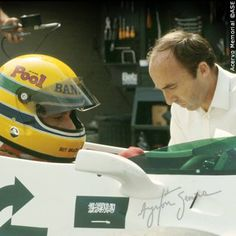 Senna & Frank Williams in the first F1 car test