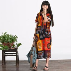 Casual Loose Fitting Long Sleeved Cotton Long Dress by deboy2000