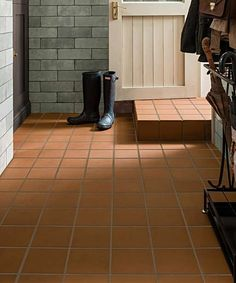 Give your home a fresh new look with our bathroom tiles. Discover contemporary marble effects and timeless mosaics, and boldly patterned tiles will bring your en suite to life. Tiled Hallway, Hallway Flooring, Porch Tile, Patio Tiles, Quarry Tiles, Back Steps, Terracotta Floor, Red Floor, Red Tiles