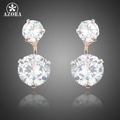 AZORA Alarm Clock Heart With Elegant Oval Egg Clear Cubic Zirconia Stones Drop  Earrings for Valentine s Day Gift TE0234  c43bfe68880f