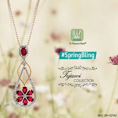 Make this 18k gold pendant studded with radiant rubies and diamonds, your #SpringBling. #Pendant #TejasviCollection