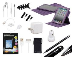 Purple 14pc iPad2/3 Accessory Set  is going up for auction at  4pm Sun, May 19 with a starting bid of $12.
