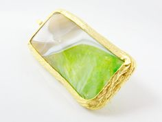 Lime Green Beige Unusual Cut Agate Pendant   22k by LylaSupplies, $12.00