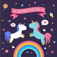 Unicornios enamorados con elementos