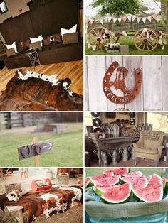 Love the cowhide as a table cloth and always wanted a wagon!!