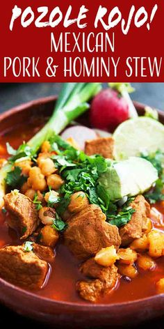 Pozole Rojo Traditional Mexican pozole posole is a rich brothy soup made with pork hominy and red chiles Pile your bowl with toppings like shredded cabbage radishes cilan. Authentic Mexican Recipes, Mexican Food Recipes, Mexican Desserts, Hawaiian Recipes, Pozole Recipe Pork, Authentic Mexican Pozole Recipe, Posole Rojo Recipe, Easy Red Posole Recipe, Posole Recipe Chicken Red