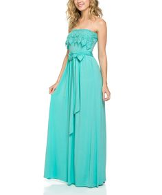 Another great find on #zulily! Emerald Mint Lace Strapless Maxi Dress by Emerald #zulilyfinds
