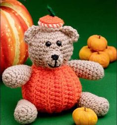 PumpkinBear this post shows a picture of the bear but it's free patterns for blankets and sweaters ect...