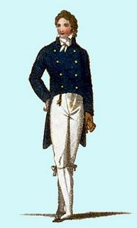 1811, Gentleman's formal dress: tailcoat and watch fob.