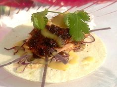 Sour Orange BBQ'd Salmon Taco with Red Cabbage Slaw and Smoked Chile Sauce