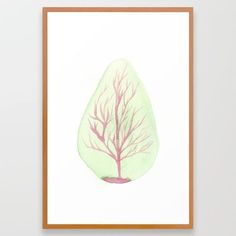 TREE 26 x38  Large FRAMED Watercolour Minimal Fine Art Giclee Print Home Decor Watercolour, Giclee Print, Minimalism, Fine Art, Random, Frame, Home Decor, Pen And Wash, Picture Frame