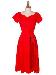 Vintage Red Rayon Satin Party Dress Gay Gibson 1950s 35-28-Free