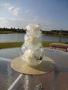 I Like This Centerpiece Ideayou Could Have Each Level Be Slightly Different Rose Wedding CenterpiecesDiy