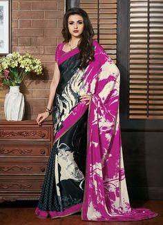 Black & Pink Bhagalpuri Silk Printed Saree