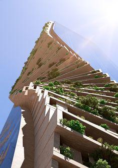 UNStudio Named Winner of Landmark Melbourne Skyscraper Competition,Green Spine / UNStudio + Cox Architecture . Image Courtesy of UNStudio / Cox Architecture Green Architecture, Futuristic Architecture, Sustainable Architecture, Amazing Architecture, Architecture Design, Landscape Architecture, Pavilion Architecture, Residential Architecture, Contemporary Architecture