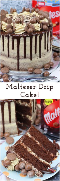 A Three Layer Malt Chocolate Cake with Malt Buttercream Fro… Malteser Drip Cake! A Three Layer Malt Chocolate Cake with Malt Buttercream Frosting, Malteser Spread, and A Chocolate Drip with oodles of Maltesers! Drip Cake Recipes, Baking Recipes, Chocolate Desserts, Chocolate Cake, Chocolate Drip Cake Birthday, Chocolate Birthday Cake Decoration, Chocolate Buttercream Cake, Birthday Cake Decorating, Food Cakes