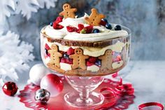 For the perfect Christmas dessert dive into this sensational gingerbread trifle. For the perfect Christmas dessert dive into this sensational gingerbread trifle. Christmas Trifle, Christmas Desserts, Holiday Treats, Christmas Treats, Holiday Recipes, Christmas Recipes, Christmas Cakes, Holiday Cakes, Christmas Lunch Ideas