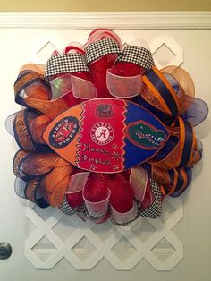 House Divided Wreath - Collegiate House Divided Wreath - House Divided Three Way Wreath - Roll Tide/Gators/War Eagle Wreath - UA/AU/FL Decor by ElsiesCreativeDesign on Etsy House Divided Football, House Divided Wreath, Best Christmas Lights, Shabby Chic Antiques, Picture Holders, Wreath Forms, Decorated Jars, Deco Mesh, Decoration