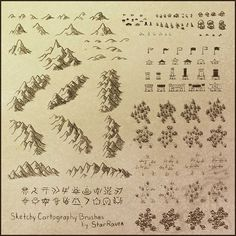 Sketchy Cartography Brushes by StarRaven map icons | please click artwork for source