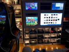 Updated video game console shelves and entertainment unit via Racketboy forums user wheeezy video game room http://xboxpsp.com/ppost/569423946622297764/