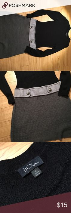 Black and Gray Sweater Dress Very soft Sweater Dress, worn once. It was a little shorter than I typically wear, but is very flattering. BCX Dresses Long Sleeve