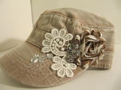 Cadet Hat  Khaki Hat Military Cadet Hat Woman by GoldenDreamFinds, $23.00